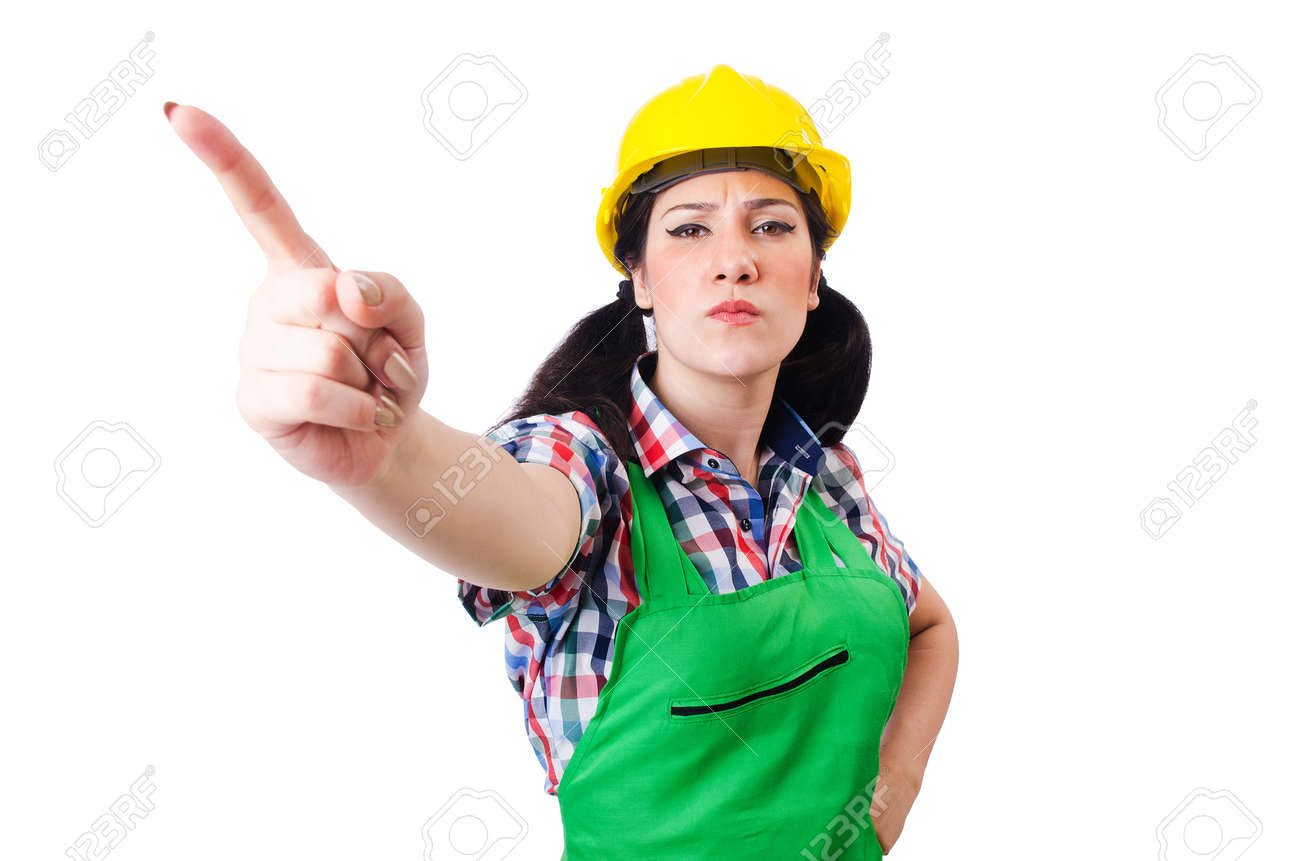 Female construction worker isolated on white Stock Photo - 16942489