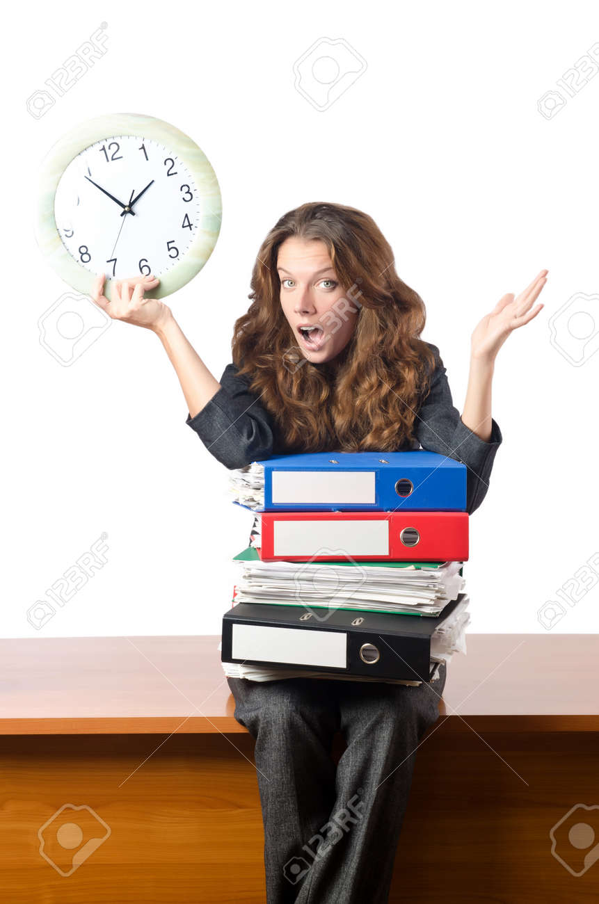 Busy woman worker in the office Stock Photo - 16942504