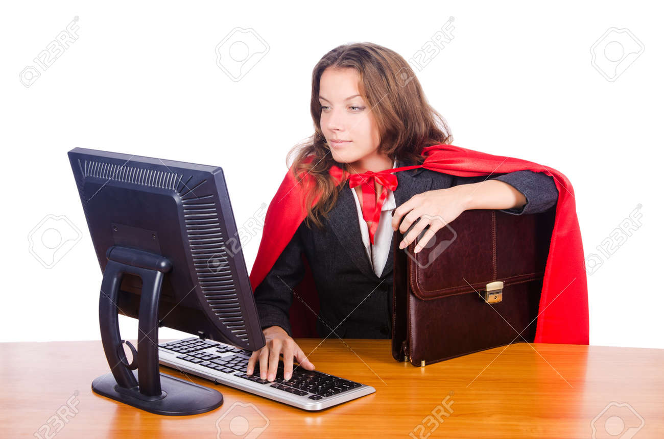 Superwoman worker working in office Stock Photo - 16942509
