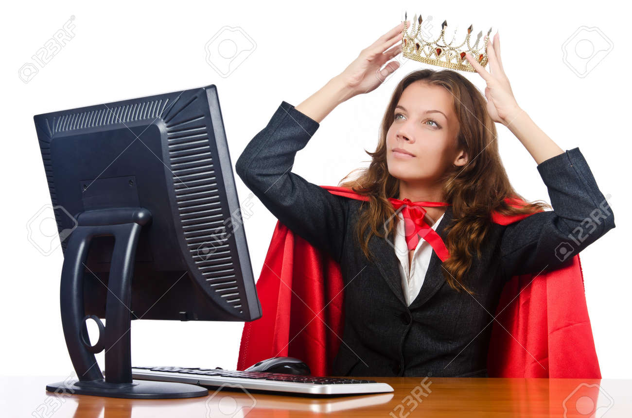 Superwoman worker with crown working in office Stock Photo - 16942525