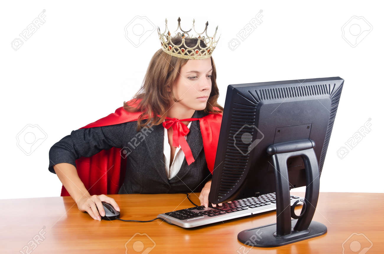 Superwoman worker with crown working in office Stock Photo - 16942518