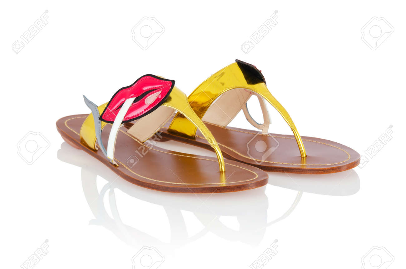 Woman sandals isolated on the white Stock Photo - 16897289
