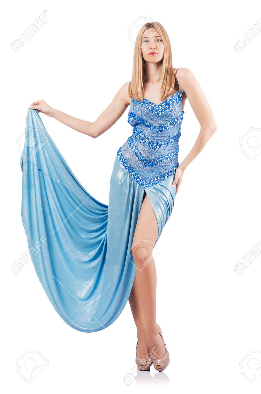 Attractive woman in blue dress on white Stock Photo - 16891313