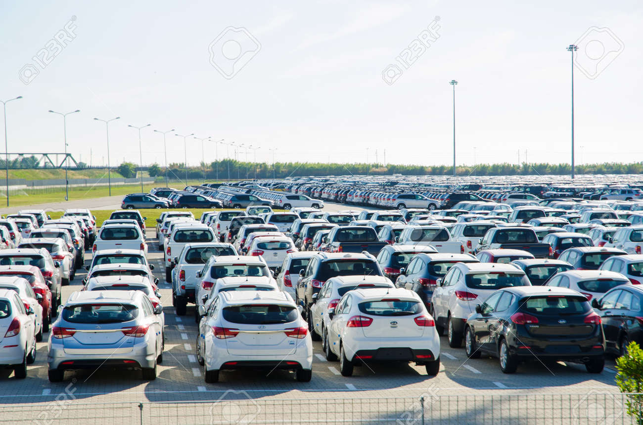 TUSCANY, ITALY - 27 June: New cars parked at distribution center in Tuscany, Italy. This one of biggest distribution centers in Italy. Stock Photo - 17356631