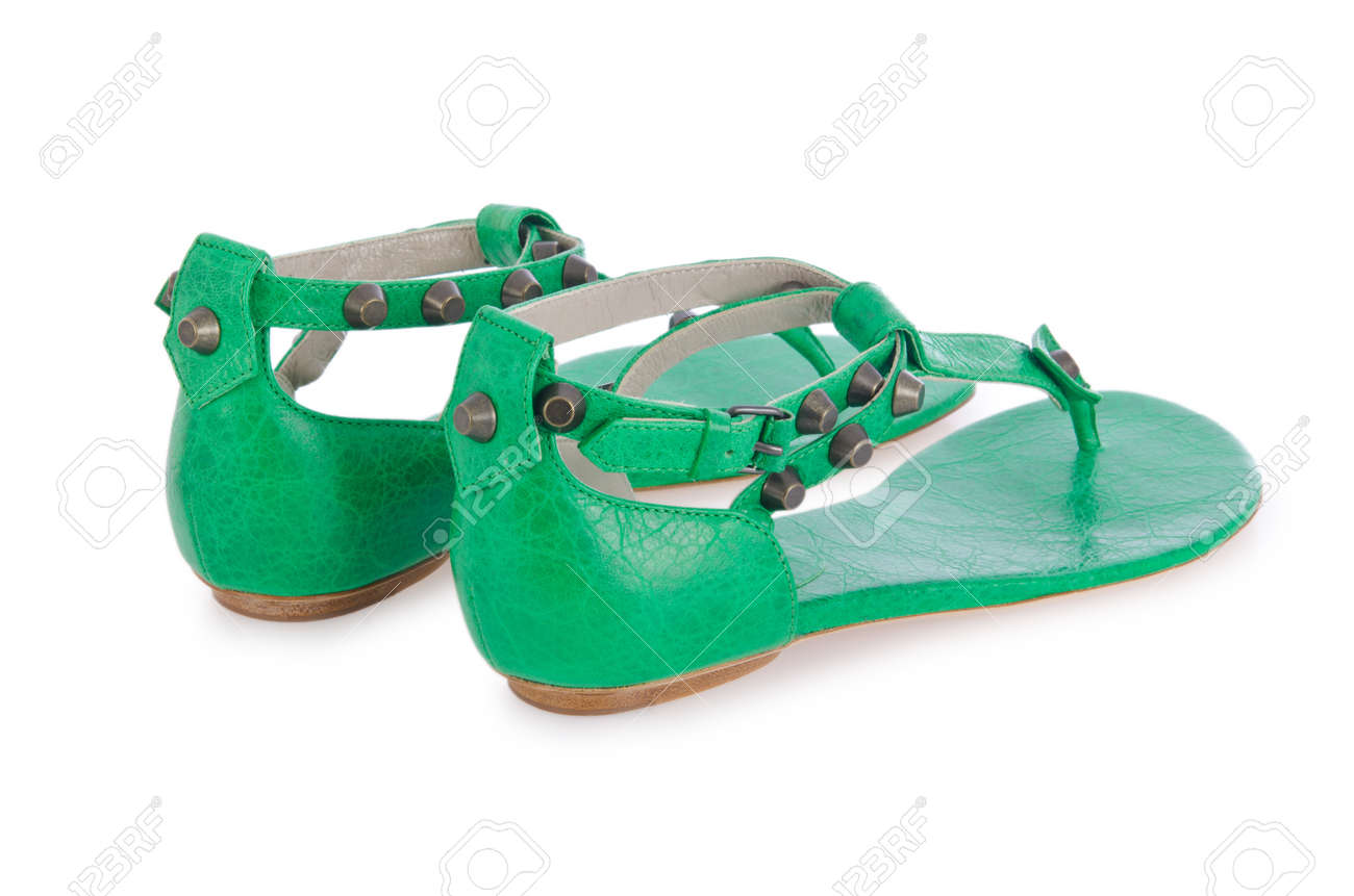 Woman green shoes isolated on white Stock Photo - 17367517
