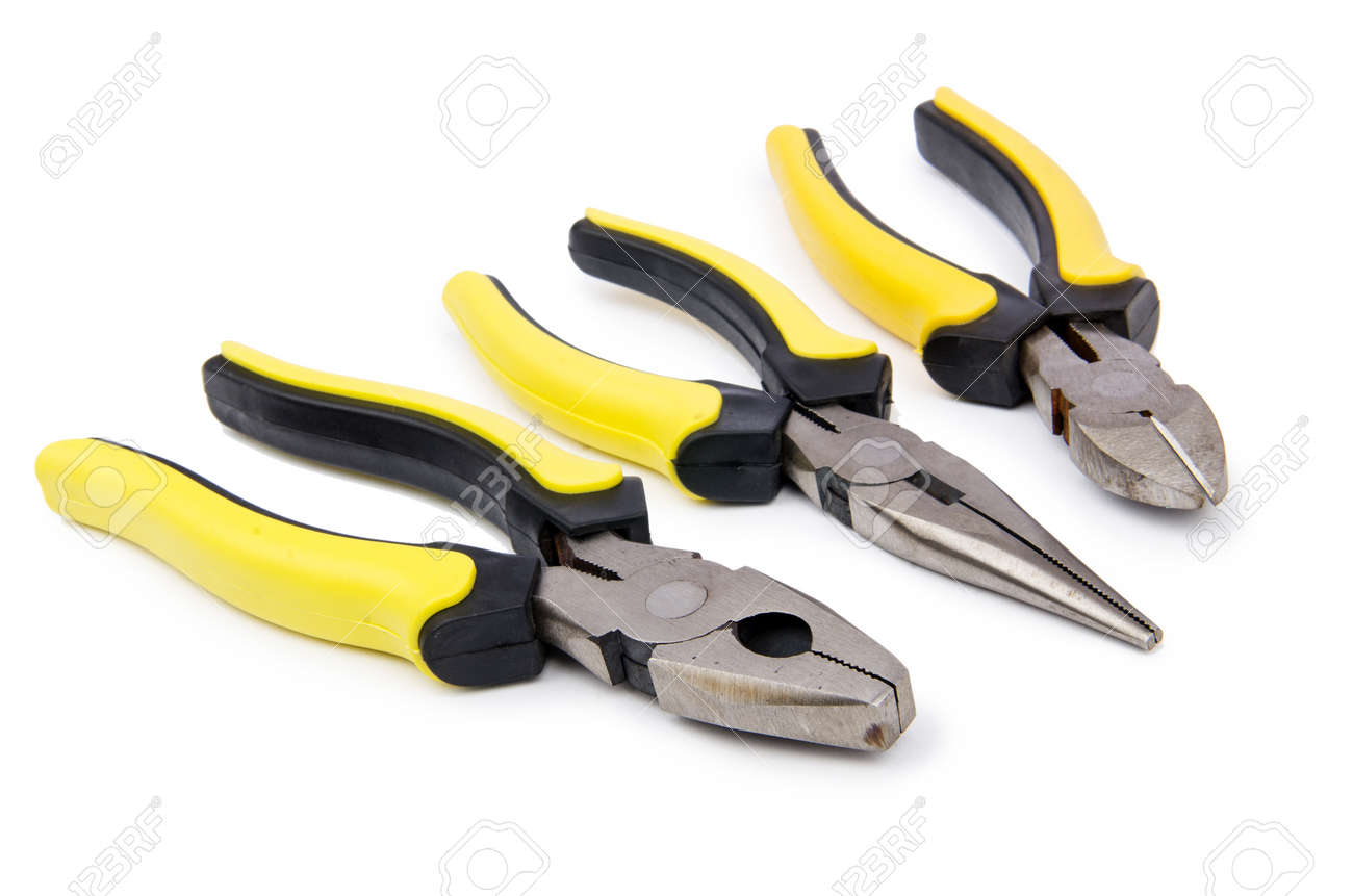 Yellow pliers isolated on the white Stock Photo - 17367630