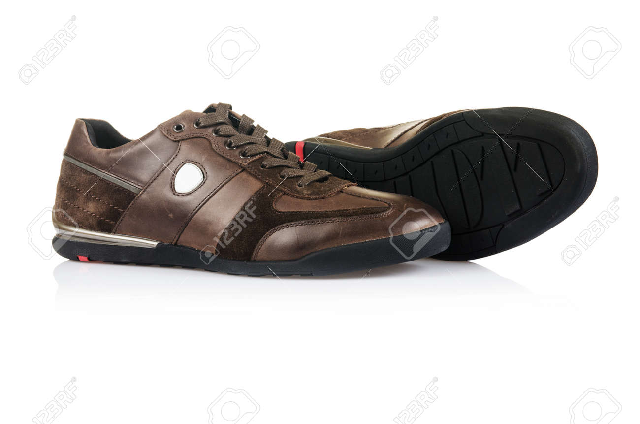 Sporty shoes in sport shoes concept on white Stock Photo - 17373644