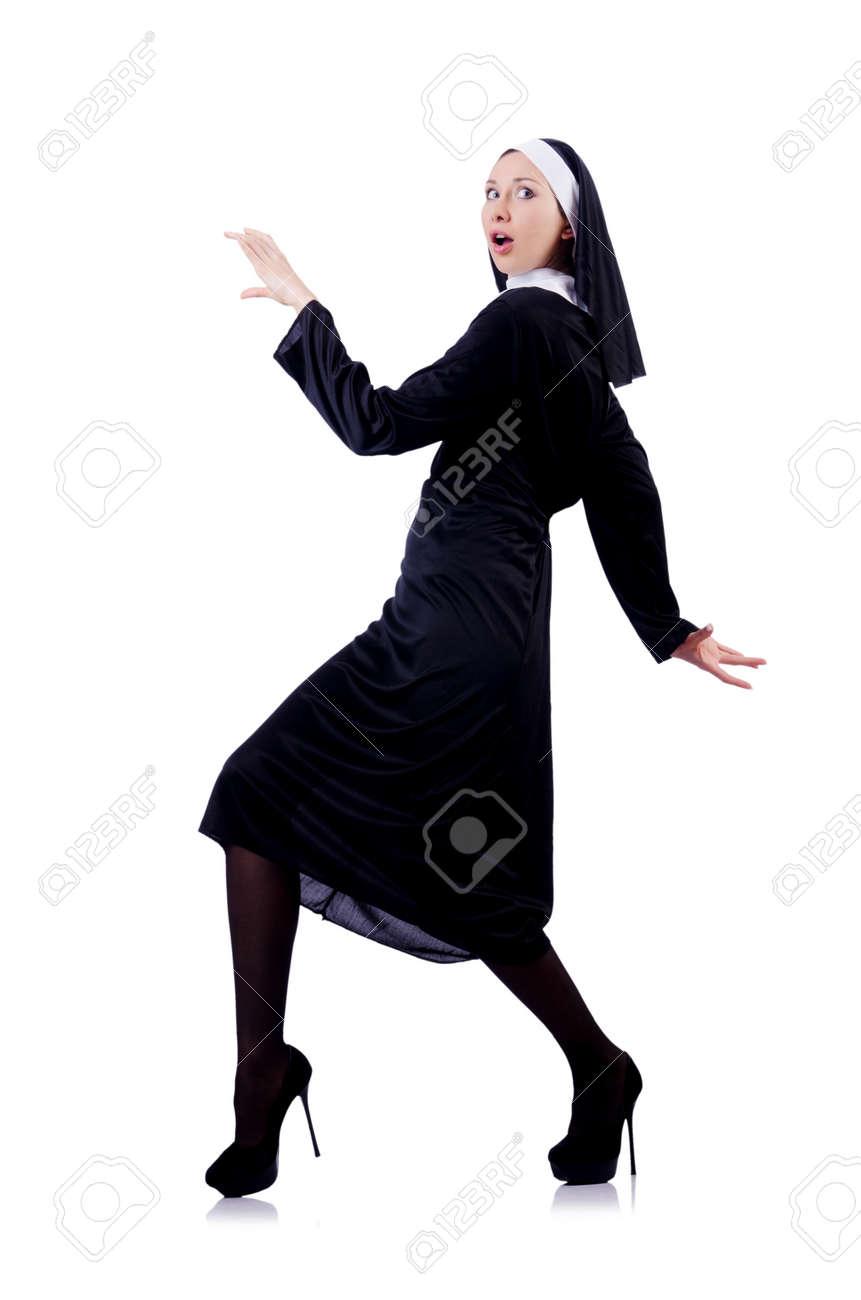 Nun isolated on the white background Stock Photo - 18037553