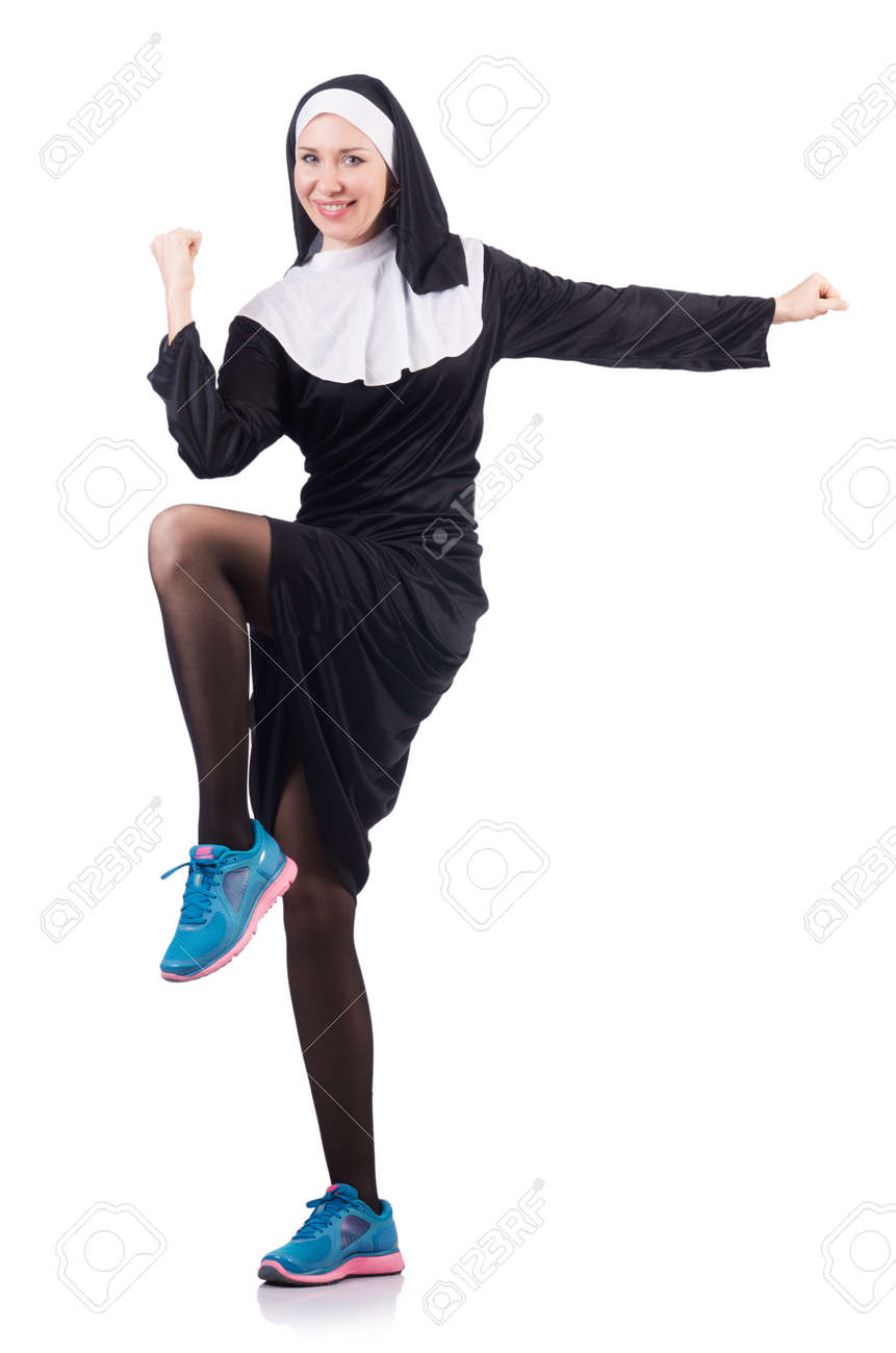 Nun isolated on the white background Stock Photo - 18037504
