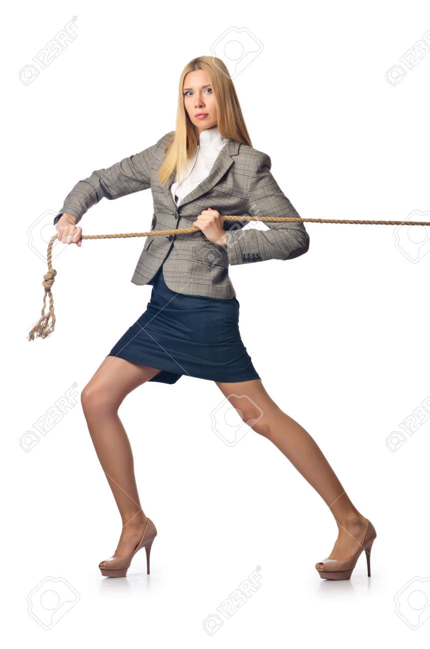 Businesswoman in tug of war concept Stock Photo - 18037340