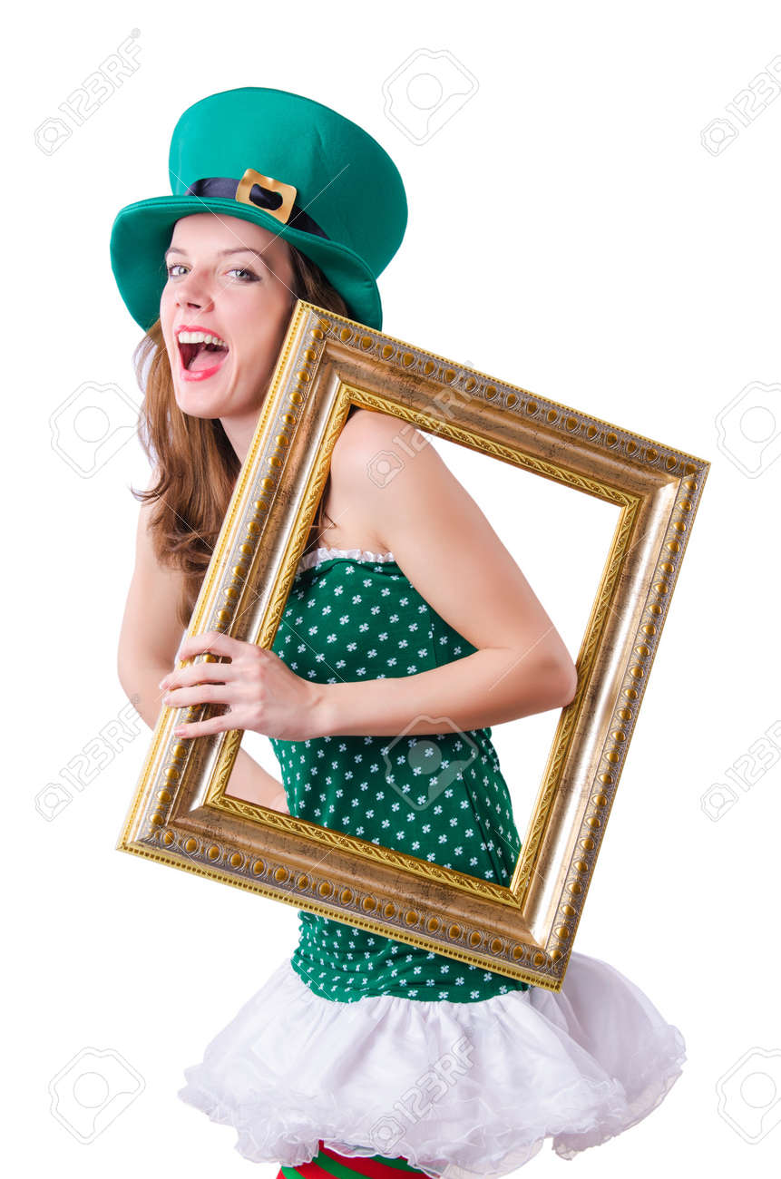 Young girl in saint patrick celebration concept Stock Photo - 18037594