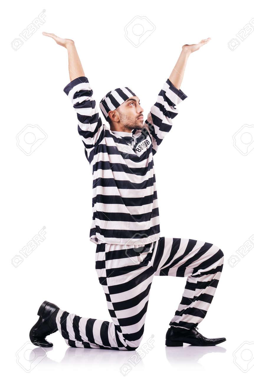 Convict criminal in striped uniform Stock Photo - 18037244