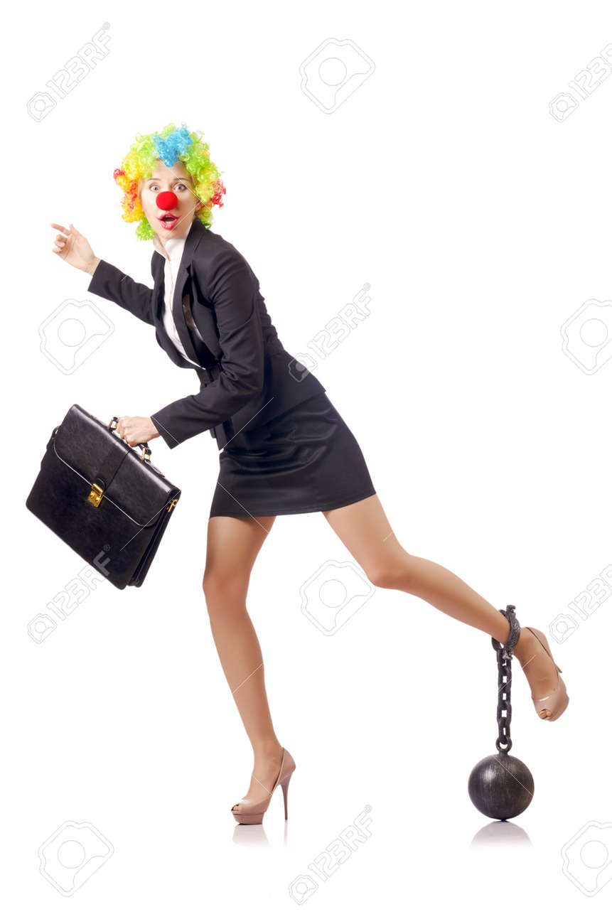 Woman clown in business suit Stock Photo - 18037484