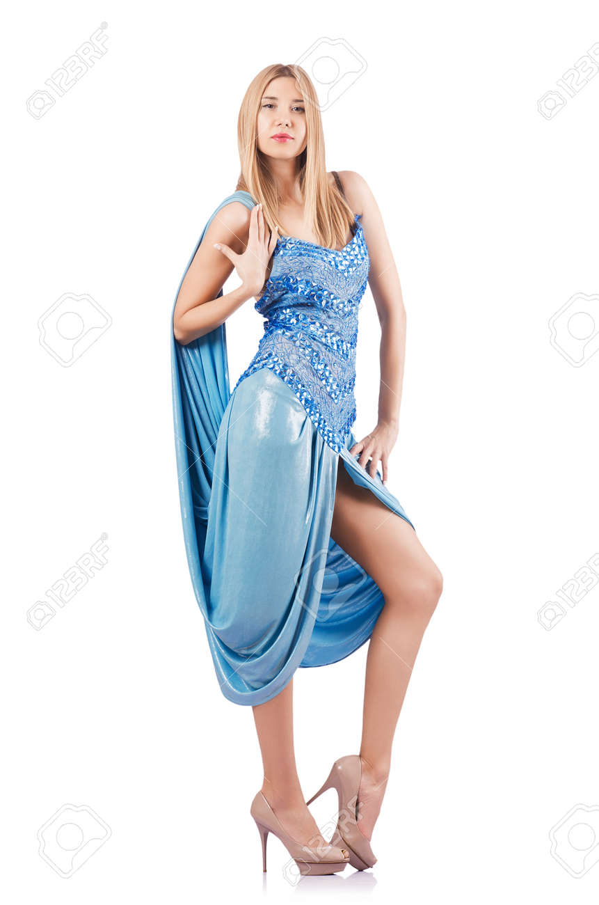 Attractive woman in blue dress on white Stock Photo - 18037374