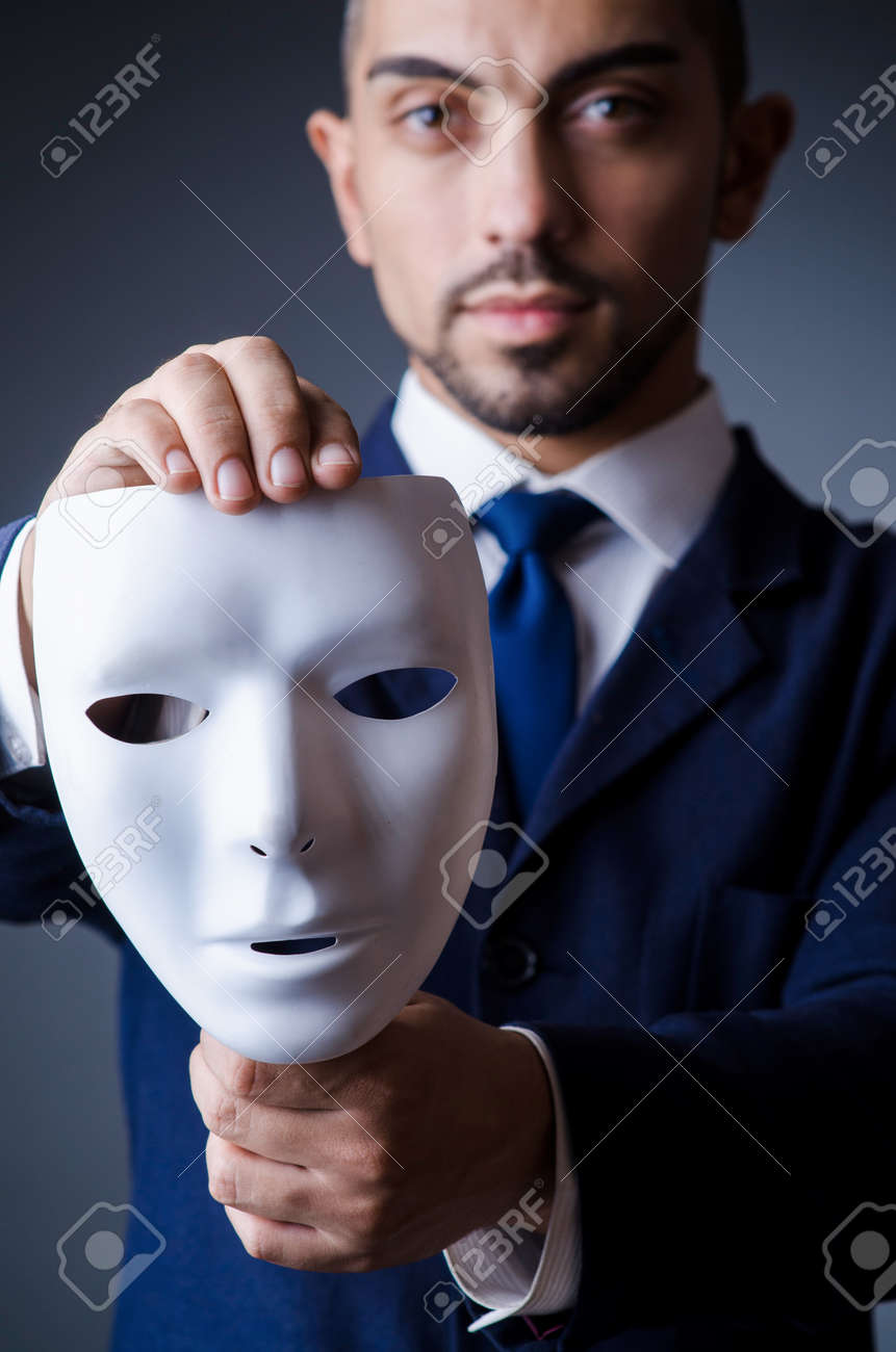 Man with black mask in studio Stock Photo - 18636721