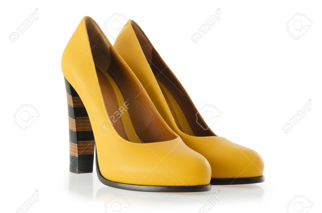 Stylish woman shoes on white in fashion concept Stock Photo - 18175397