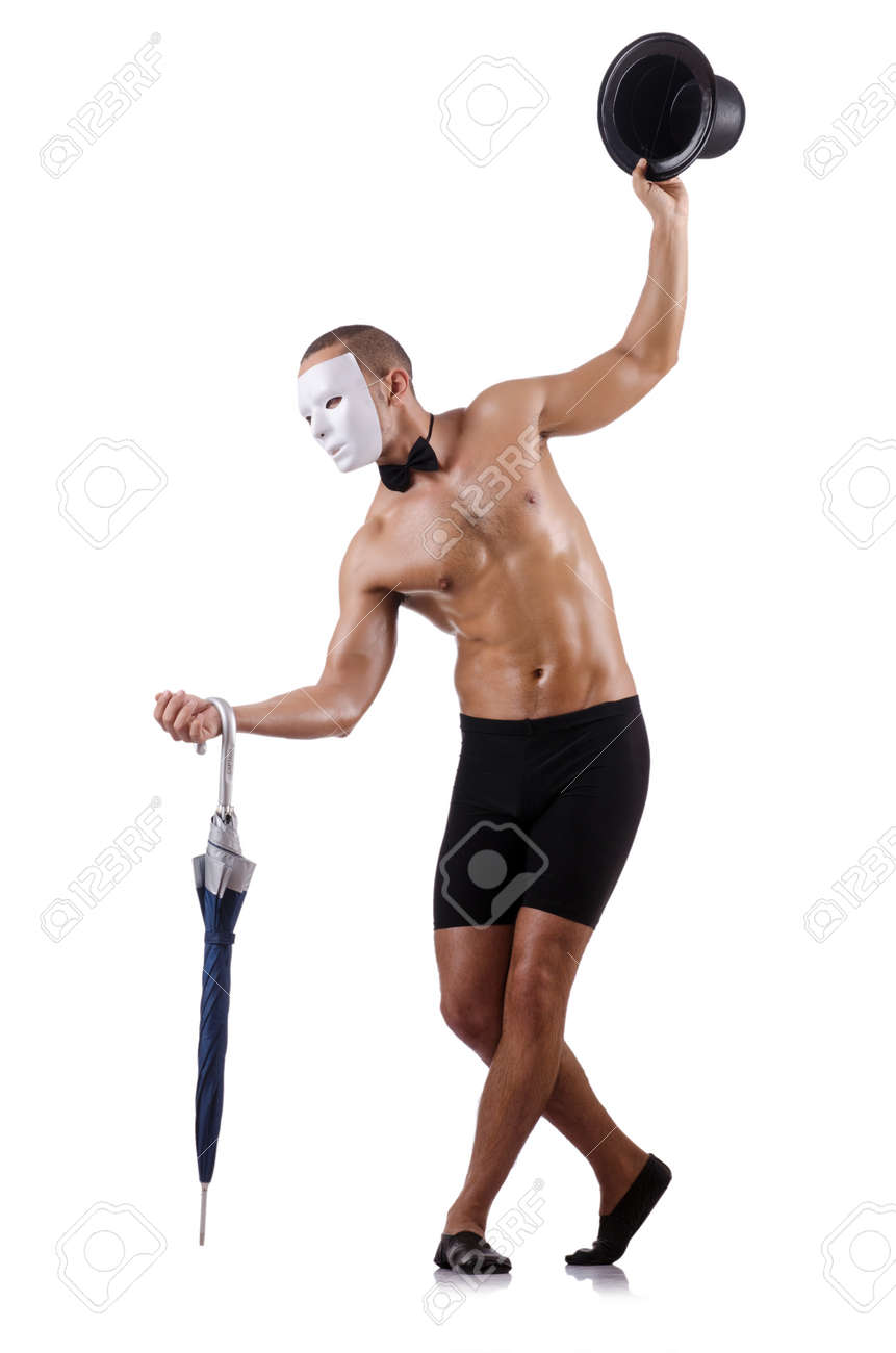 Naked muscular mime isolated on white Stock Photo - 18196190