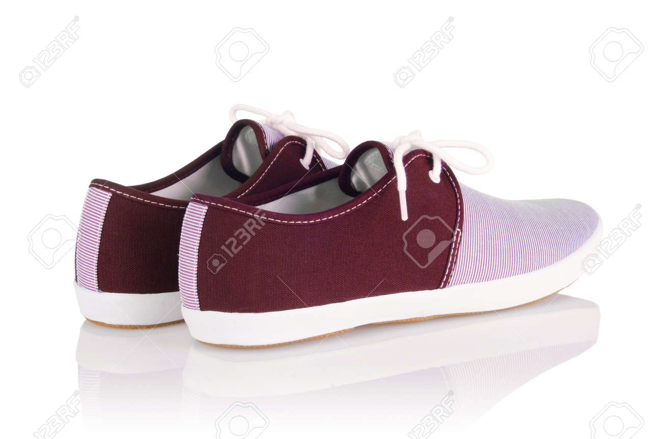 Sporty shoes in sport shoes concept on white Stock Photo - 18176341