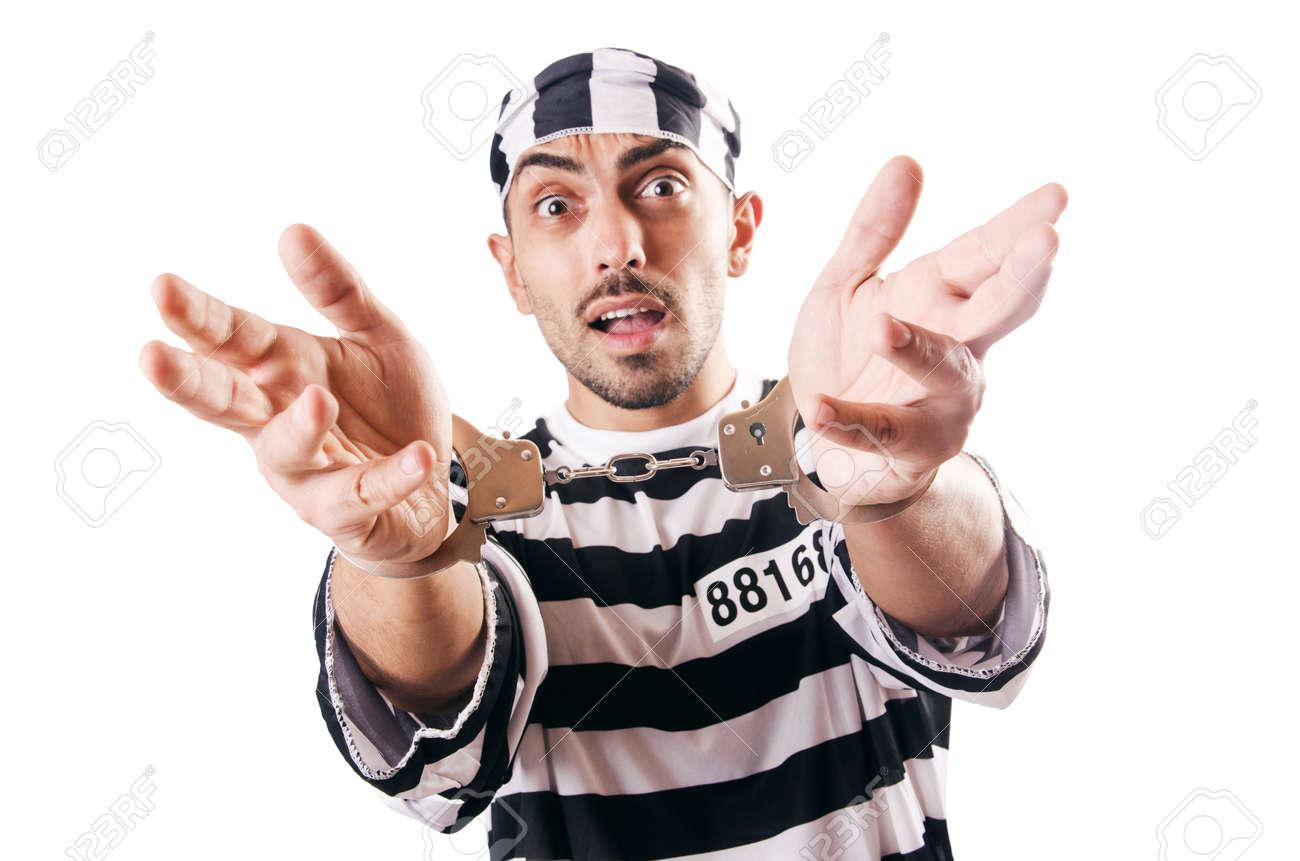 Convict criminal in striped uniform Stock Photo - 18653415
