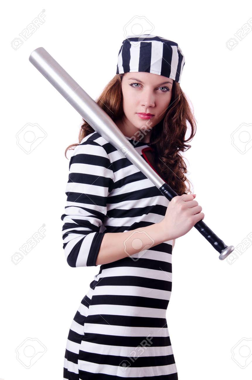 Convict criminal in striped uniform Stock Photo - 18636552
