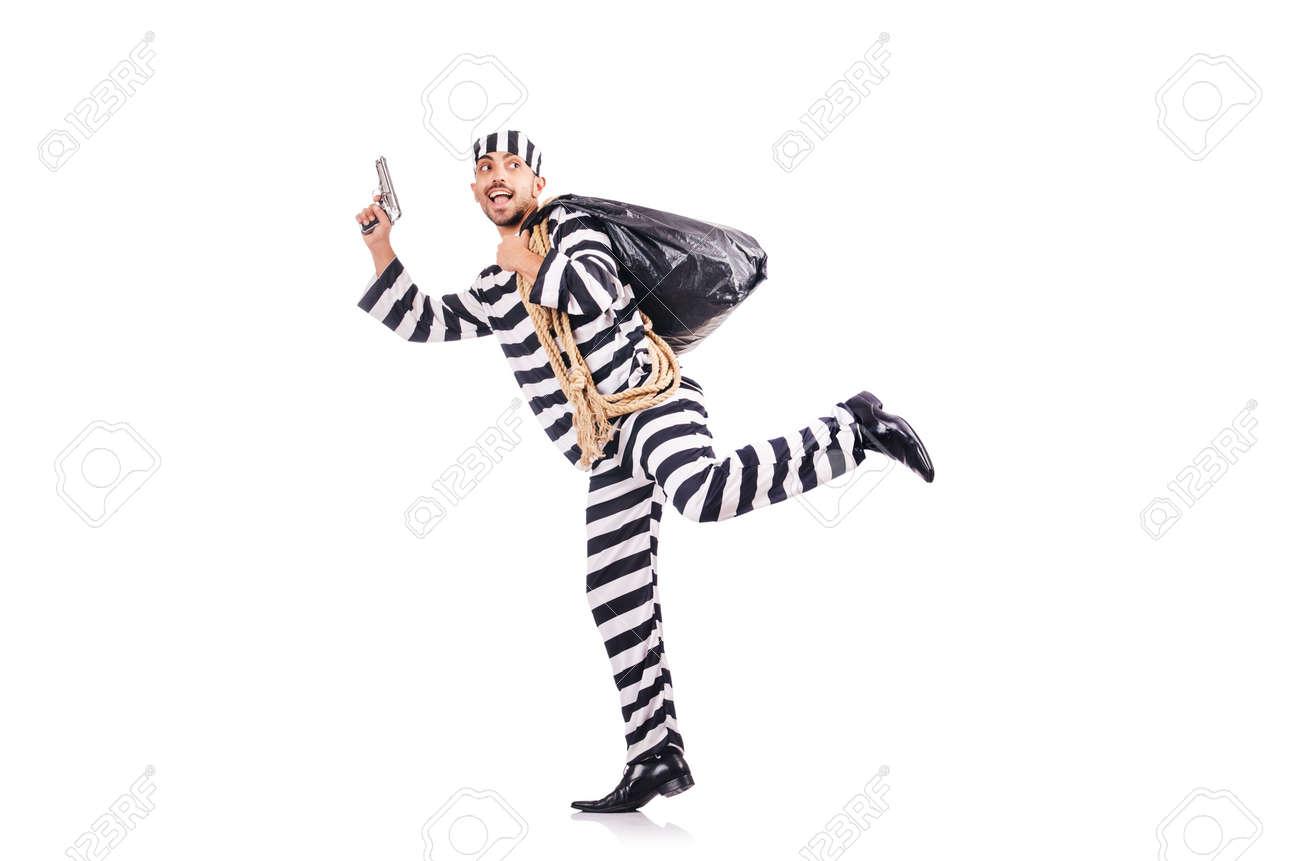 Convict criminal in striped uniform Stock Photo - 18636337