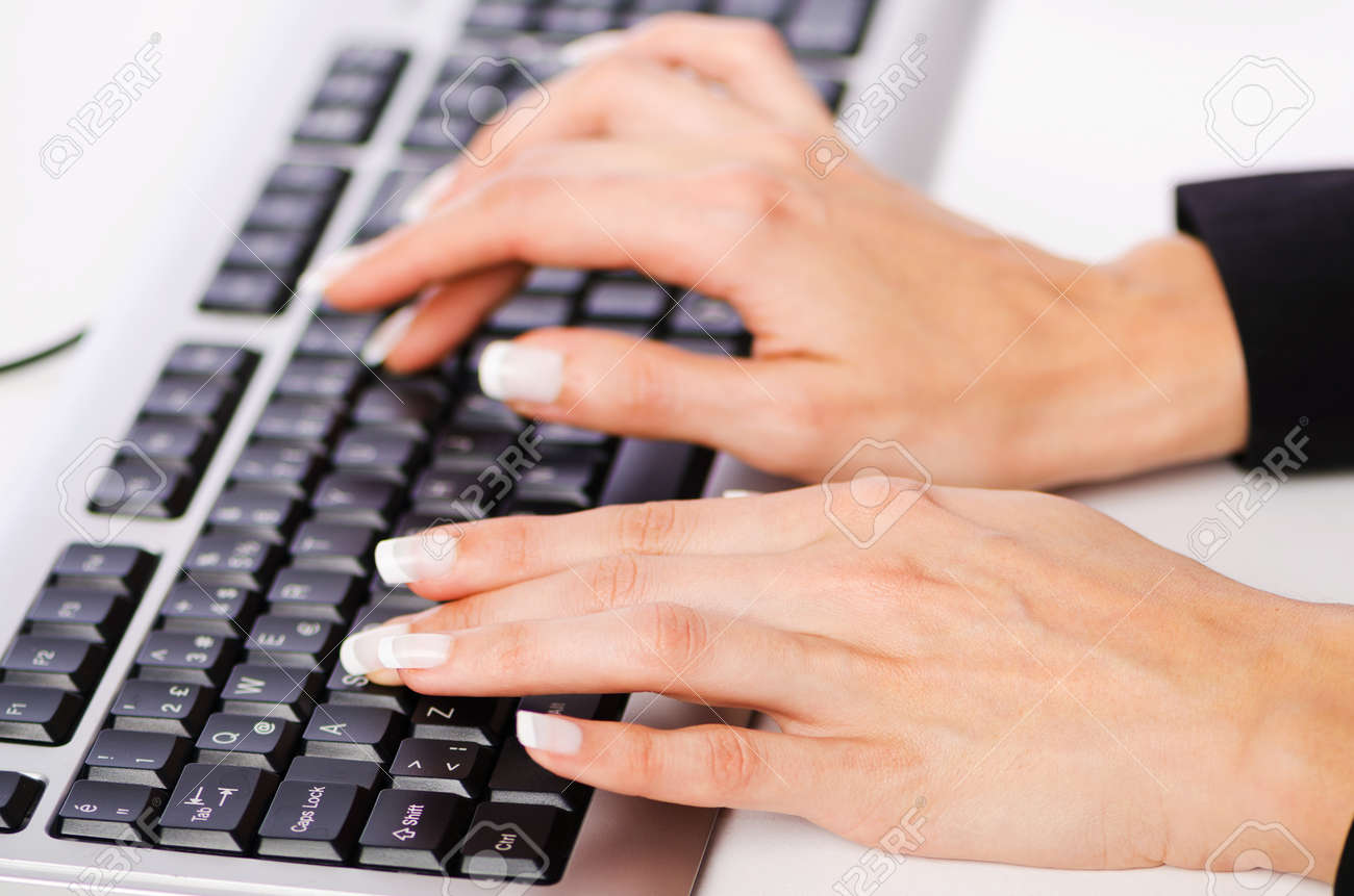 Hands working on the keyboard Stock Photo - 18176905