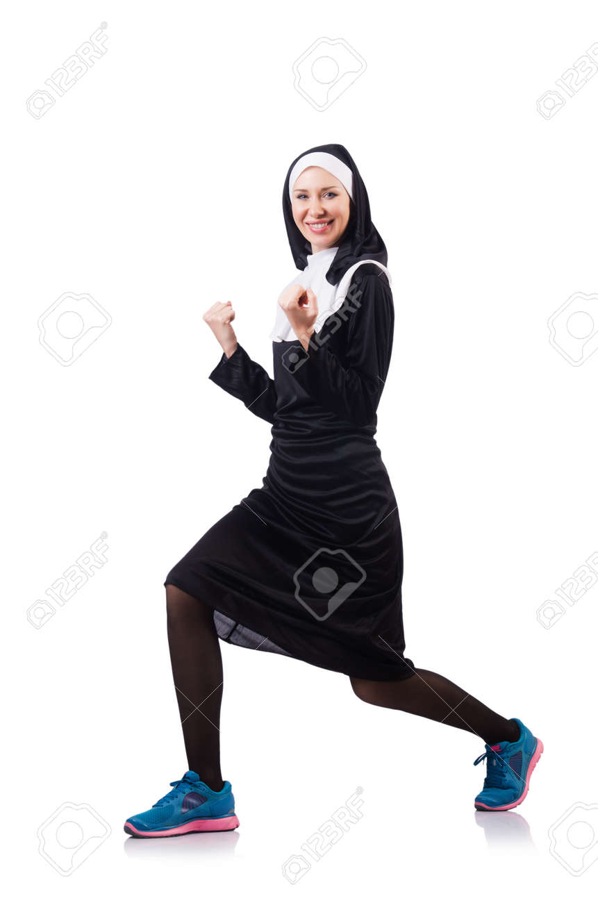 Nun isolated on the white background Stock Photo - 18654838
