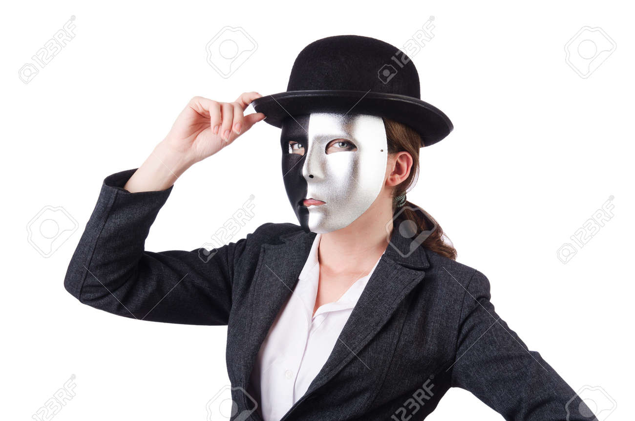 Woman with mask in hypocrisy concept Stock Photo - 18663021