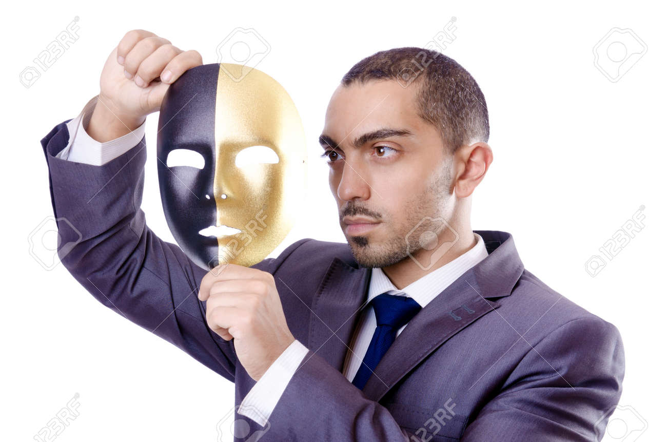 Businessman with mask in hypocrisy concept Stock Photo - 18663871