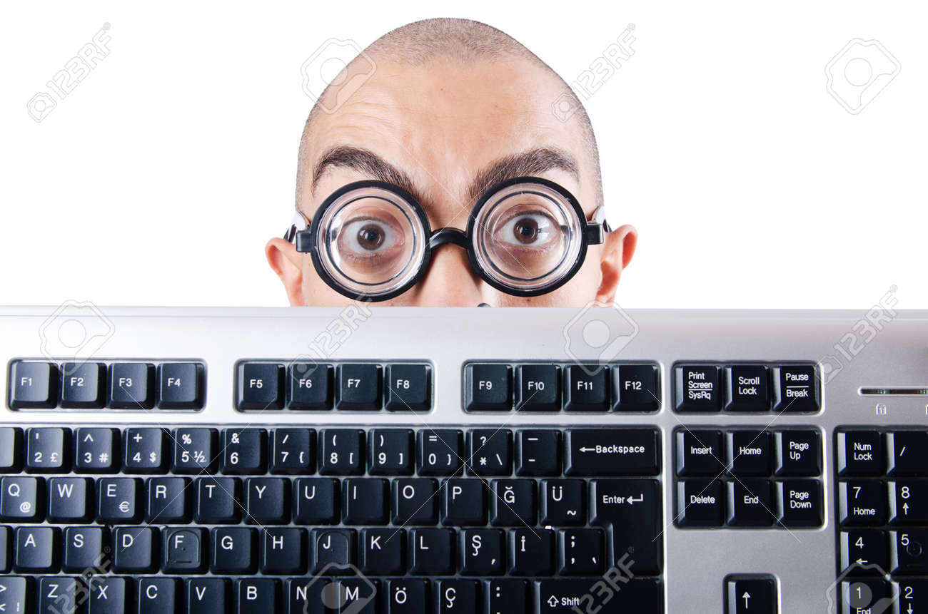Nerd businessman with computer keyboard on white Stock Photo - 18648904
