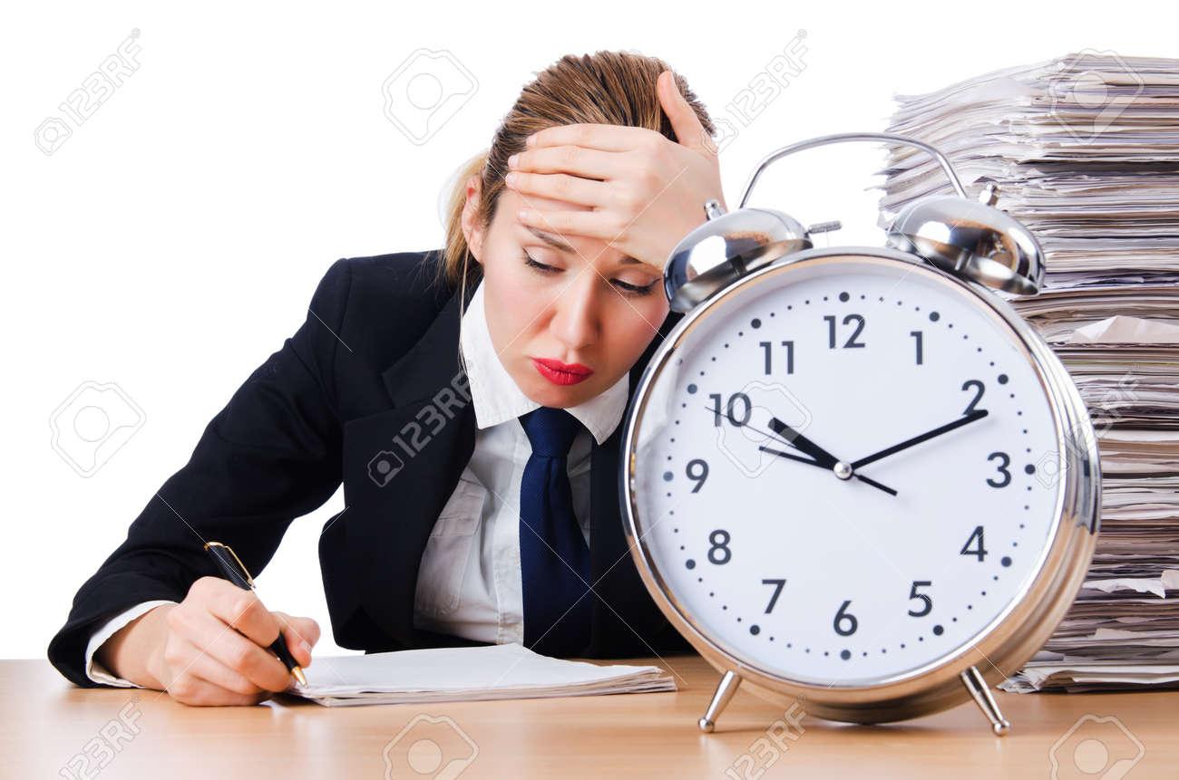Woman businesswoman with giant alarm clock Stock Photo - 18663723