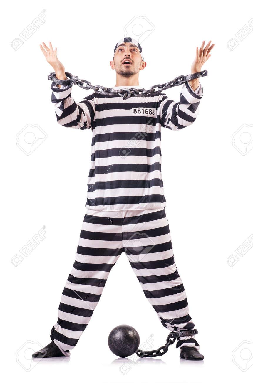 Convict criminal in striped uniform Stock Photo - 18663482