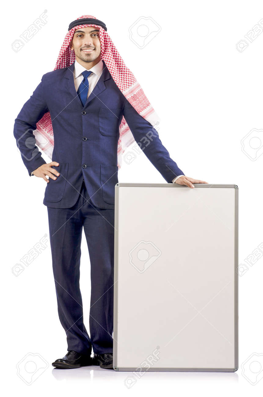 Arab man with blank board for message Stock Photo - 18663642