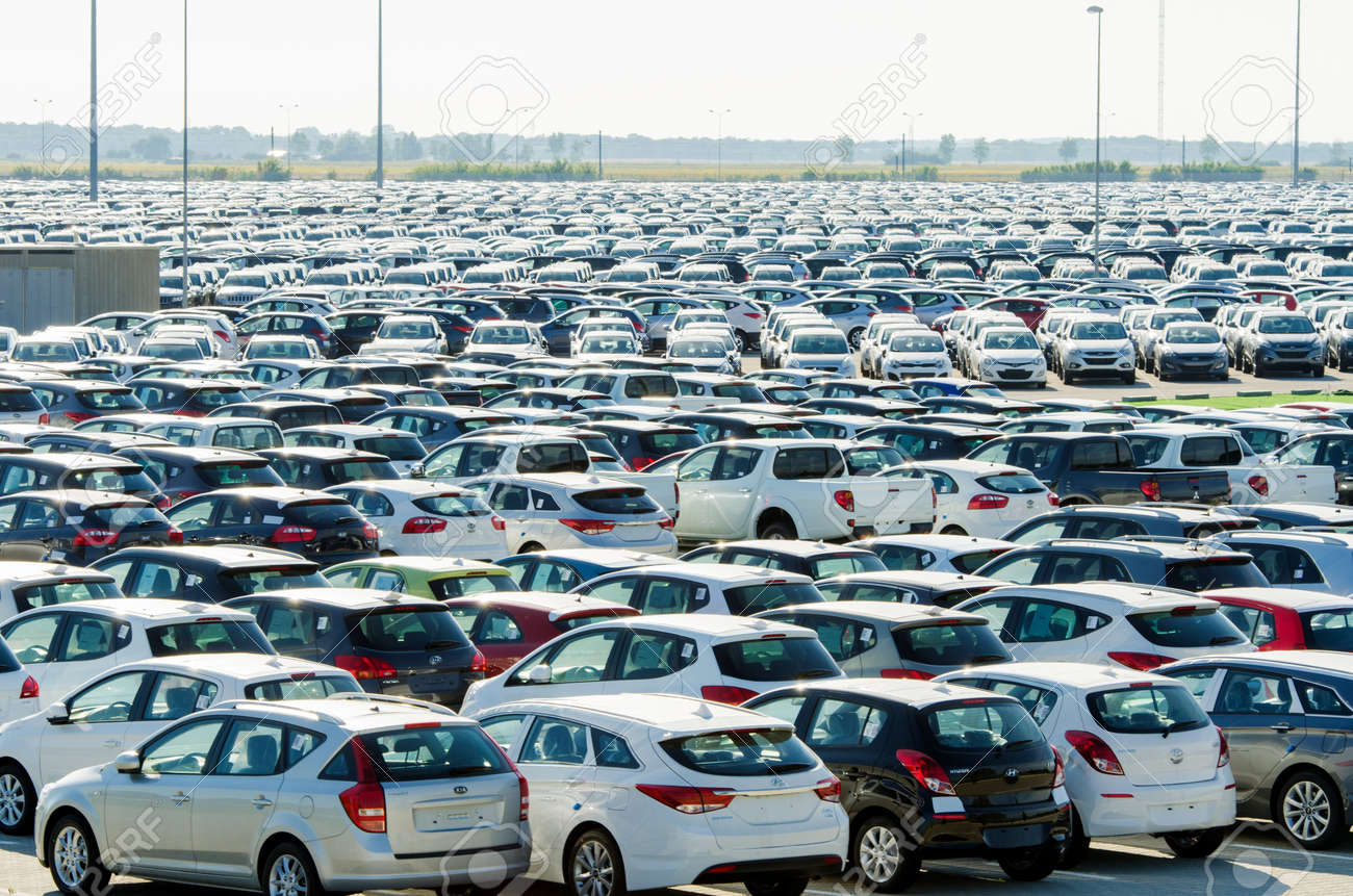 TUSCANY, ITALY - 27 June: New cars parked at distribution center in Tuscany, Italy. This one of biggest distribution centers in Italy. Stock Photo - 18509373