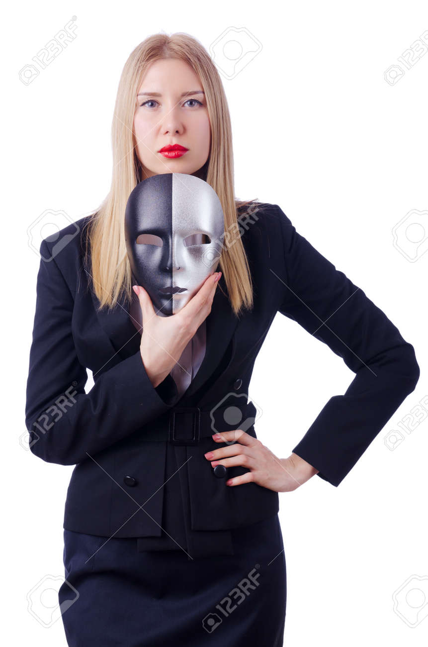 Woman with mask in hypocrisy concept Stock Photo - 18664016