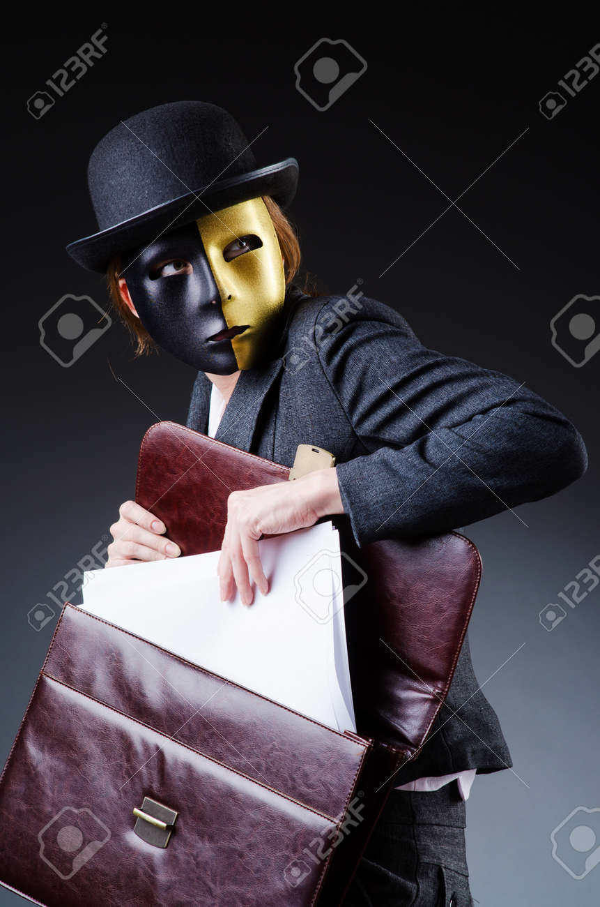 Woman with mask in hypocrisy concept Stock Photo - 18664070