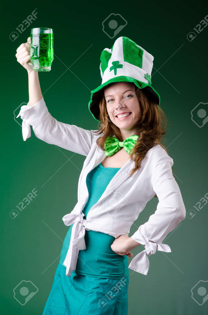 Young girl in saint patrick celebration concept Stock Photo - 18649386