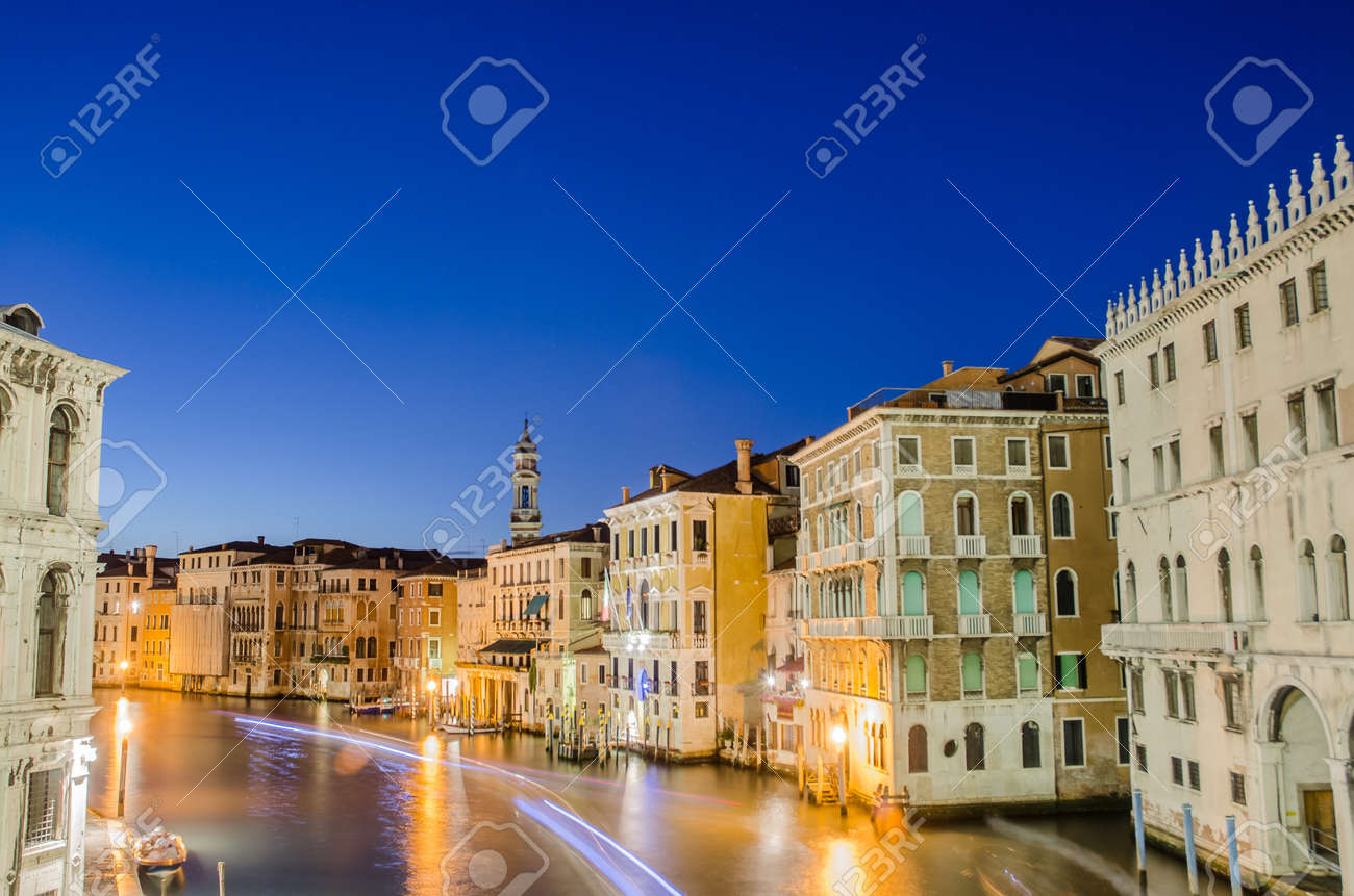 VENICE, ITALY - JUNE 30: View from Rialto bridge on June 30, 2012 in Venice, Italy. Rialto is the biggest bridge in Venice Stock Photo - 18478540