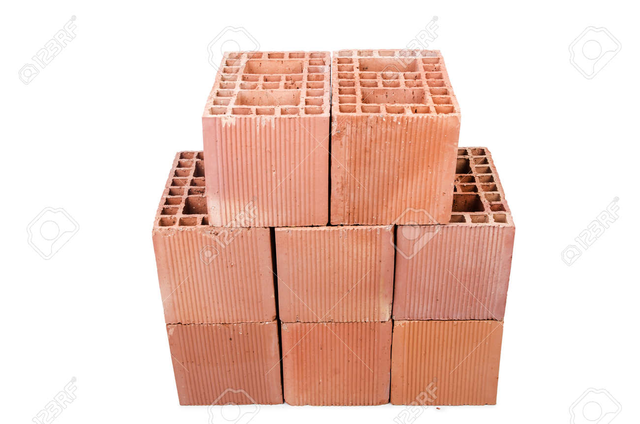 Stack of clay bricks isolated on white Stock Photo - 18535099
