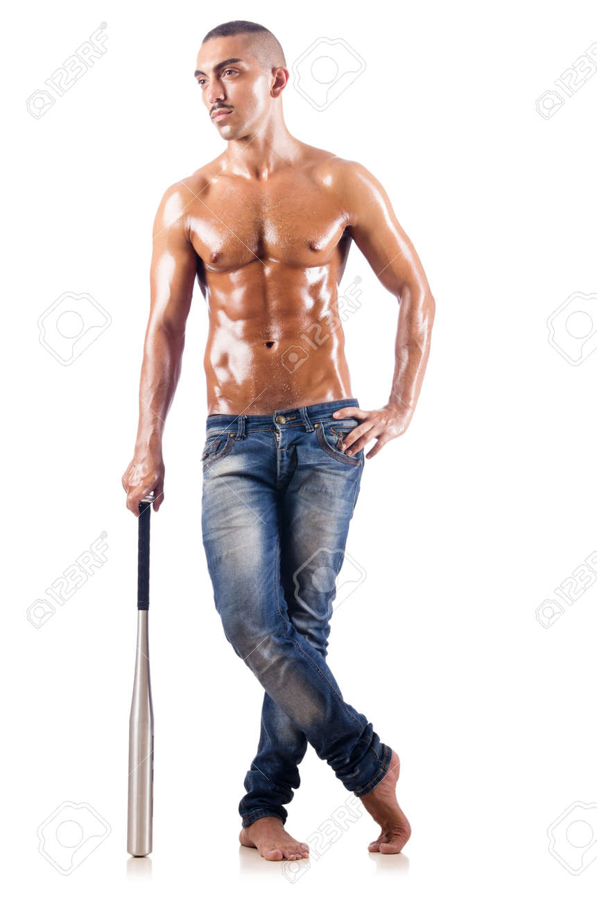 Muscular man with baseball bat on white Stock Photo - 18664494
