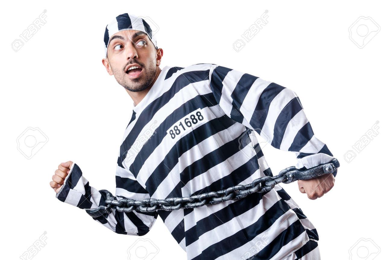 Convict criminal in striped uniform Stock Photo - 18664567