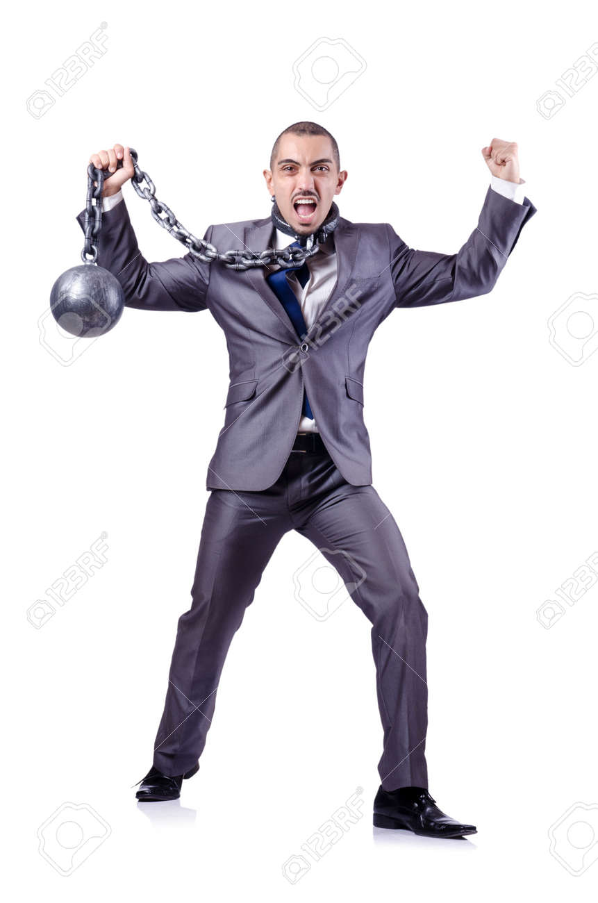 Businessman with shackles on white Stock Photo - 18664406