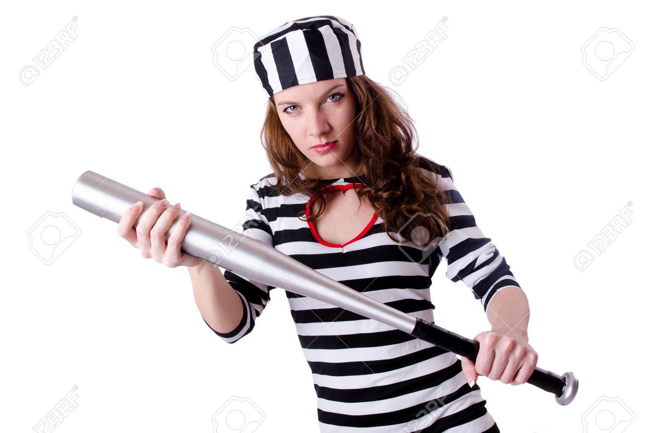 Convict criminal in striped uniform Stock Photo - 18664473