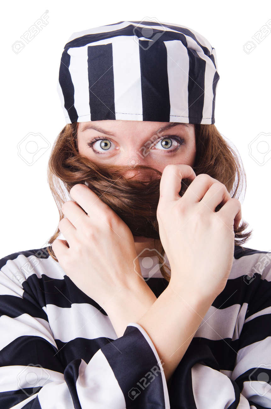 Convict criminal in striped uniform Stock Photo - 18664697