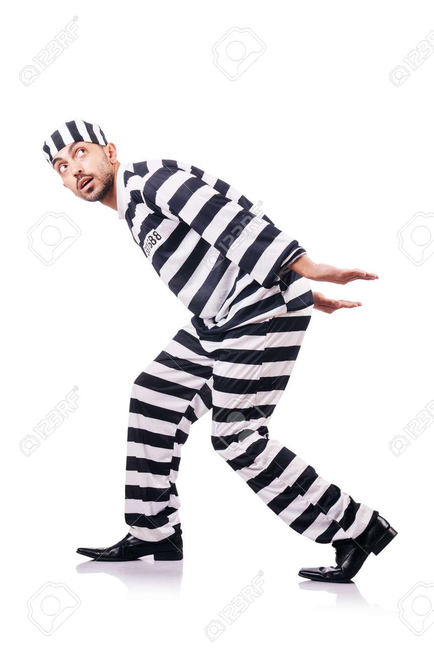 Convict criminal in striped uniform Stock Photo - 18652852