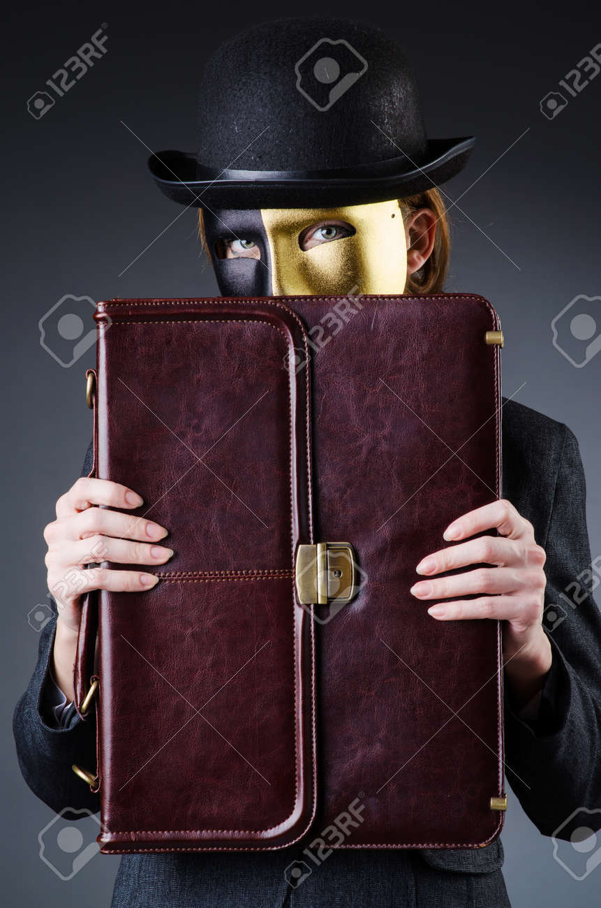 Woman with mask in hypocrisy concept Stock Photo - 18609767