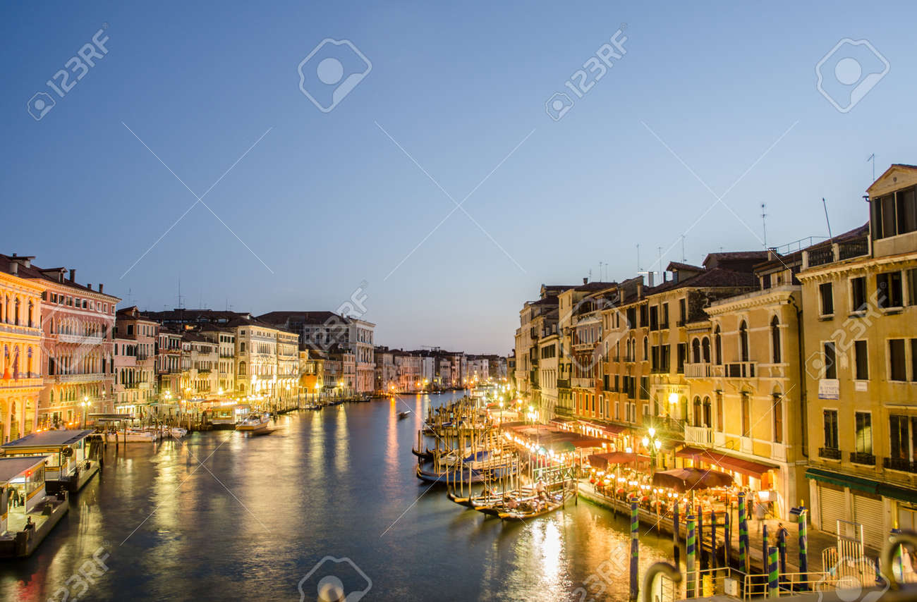 VENICE, ITALY - JUNE 30: View from Rialto bridge on June 30, 2012 in Venice, Italy. Rialto is the biggest bridge in Venice Stock Photo - 18613022