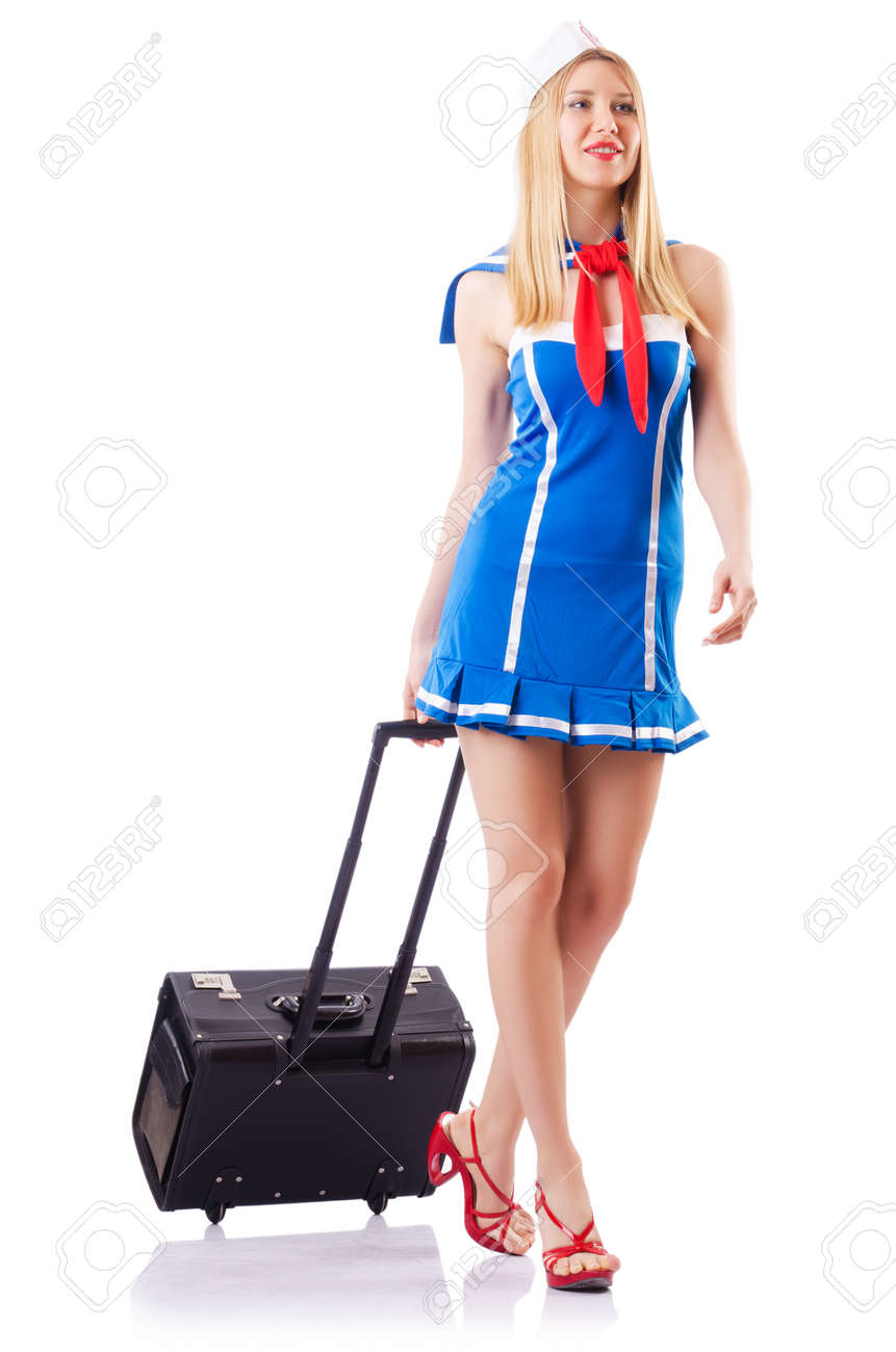 Woman sailor with suitcase on white Stock Photo - 18650861