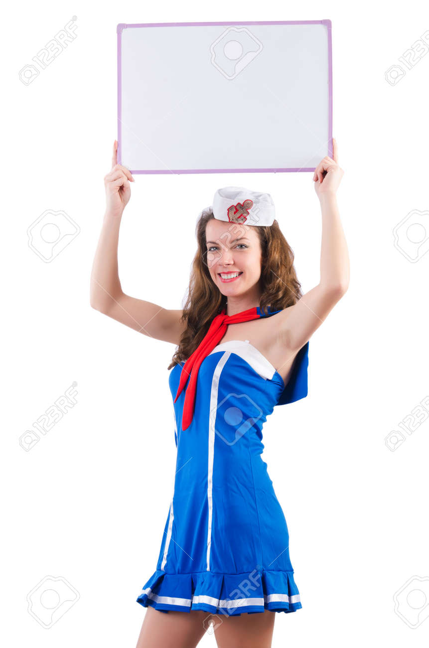 Young woman sailor in marine concept Stock Photo - 18650852