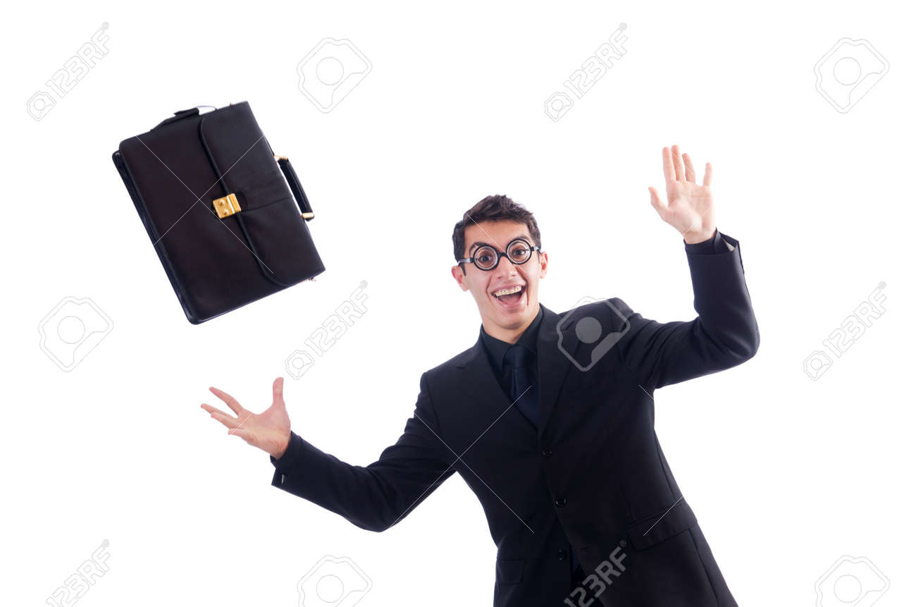 Nerd businessman isolated on the white Stock Photo - 18610763